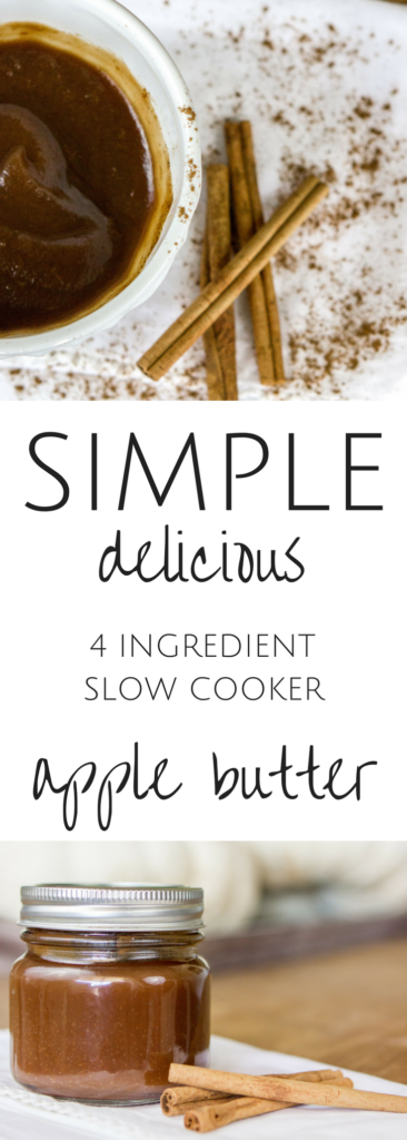 The most delicious, easy slow cooker apple butter recipe for fall. Your home will smell amazing while this apple butter cooks. #applebutter #fallrecipe #slowcookerdessert