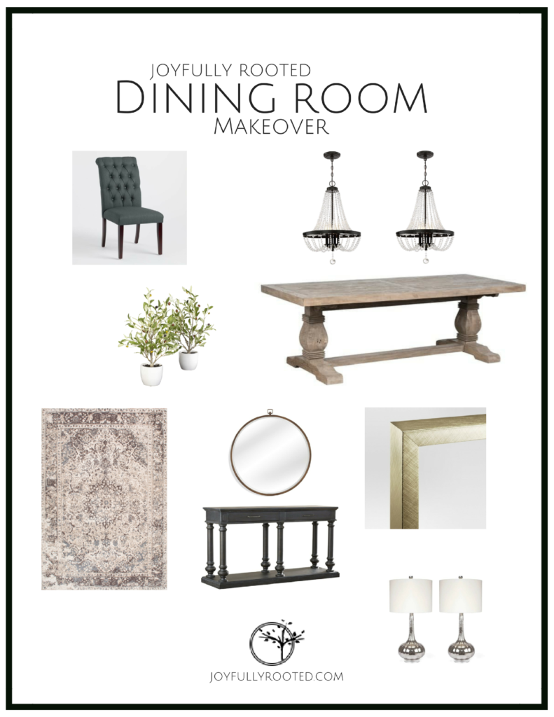 Beautiful dining room makeover project preview. All of the details and sources included. #diningroom #diningroommakeover #diningroomdecor #diningroomdesign